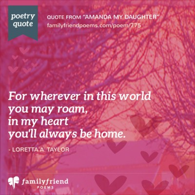 Loving Poem To A Loving Daughter, Amanda My Daughter