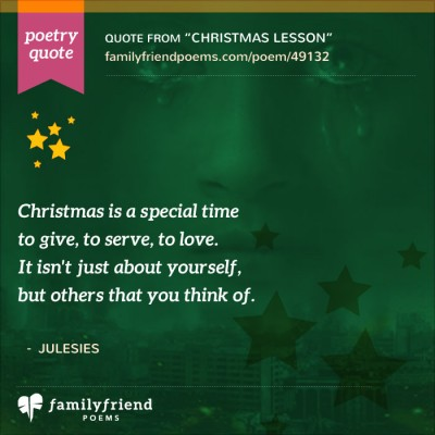 Poem About Thinking Of Others At Christmas, Christmas Lesson