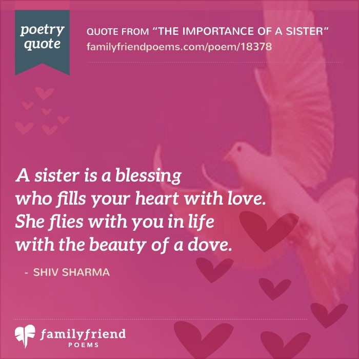 Why i love my sister poem the importance of a sister sciox Image collections