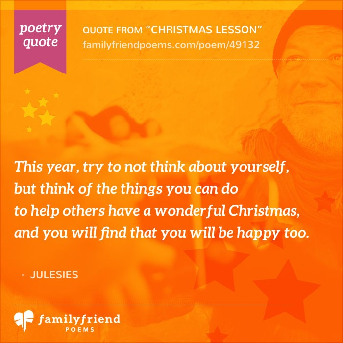 Thinking Of You Poems And Quotes For Friends: Poem About Thinking Of Others At Christmas, Christmas Lesson