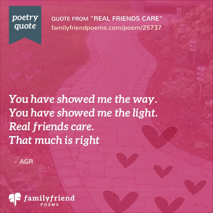poem about caring real friends care