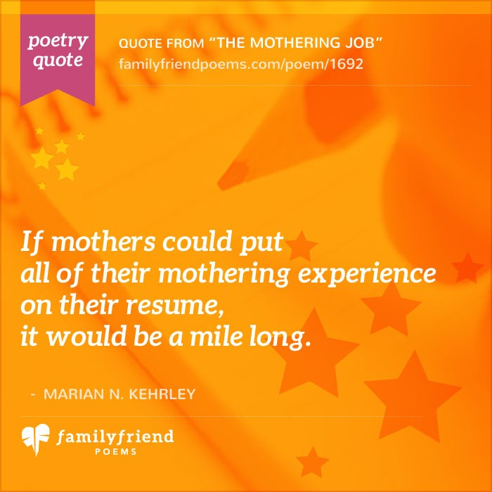 the mothering job  mother poem