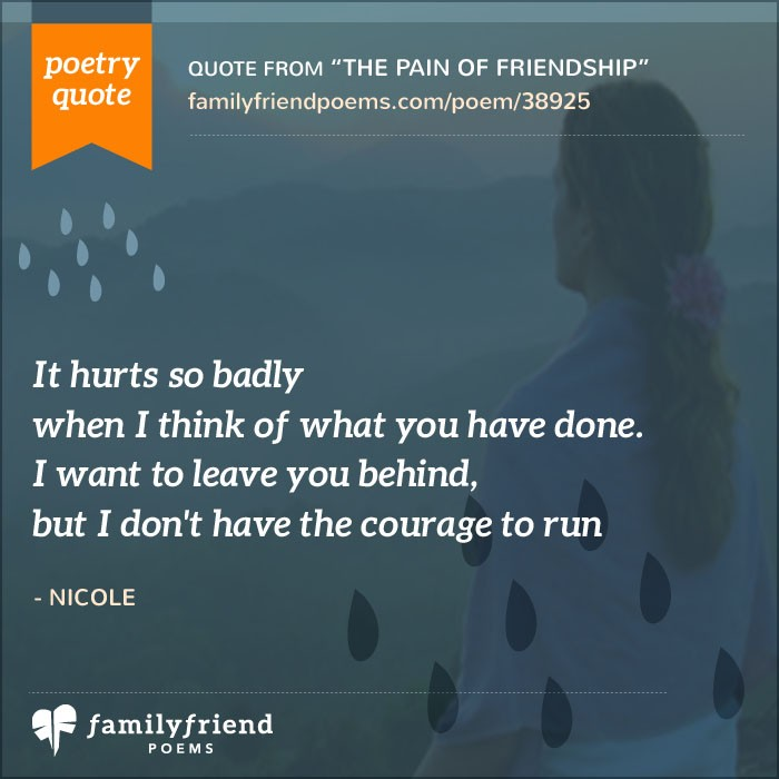 The Pain Of Friendship Betrayed Friend Poem