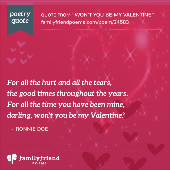 Baby S First Valentine S Day Quotes: Won't You Be My Valentine, Romantic Valentine's Day Poem