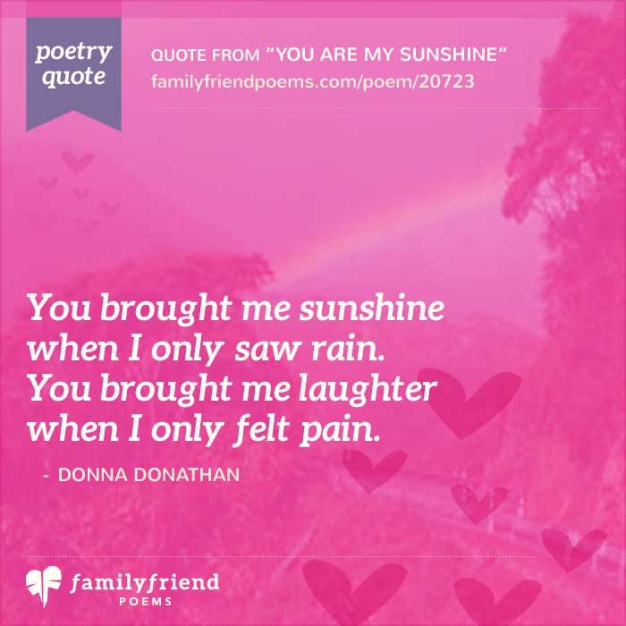 You Are My Sunshine Sweet Love Poem