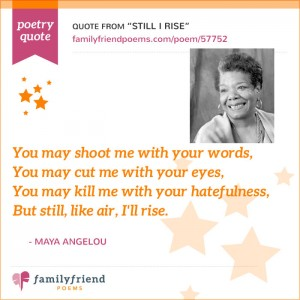 a comprehensive analysis of still i rise a poem by maya angelou Context in her poem: still i rise in her poem still i rise by maya angelou she uses context to make you understand how she and many other people feel when they are discriminated.