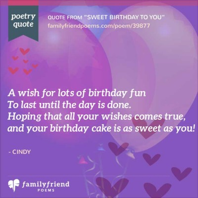 Short Birthday Poem, Sweet Birthday To You
