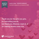 Poem Thanking Mom For Everything She's Done, Never Enough